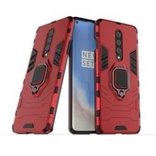 Voor OnePlus 8 PC + TPU Shockproof Beschermhoes met magnetische ringhouder (rood)