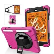 Voor iPad Mini 5 360 graden Rotatie Siliconen beschermhoes met houder & handriem & long strap & pencil slot(Rose Red)