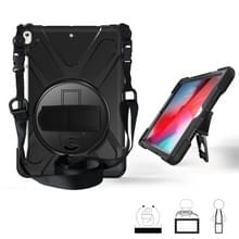 Voor iPad Pro 10 5 360 graden Rotatie Siliconen beschermhoes met houder & handriem & longstrap & pencil slot(zwart)