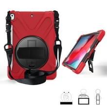 Voor iPad Pro 10 5 360 graden Rotatie Siliconen beschermhoes met houder & handriem & longstrap & pencil slot(rood)