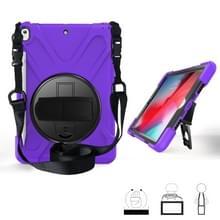 Voor iPad Pro 10 5 360 graden Rotatie Siliconen beschermhoes met houder & handriem & longstrap & pencil slot(paars)