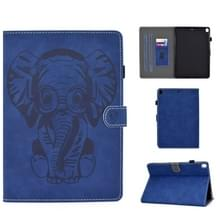 Voor iPad 10.2 10.5 / iPad Air 10.5 2019 Embossed Elephant Pattern Horizontale Flip PU Lederen Case met Slaapfunctie & Magnetic Buckle & Bracket en kaartsleuf(Blauw)