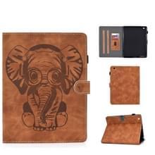 Voor iPad 2 3 4 Olifantenpatroon Horizontaal Flip PU Lederen hoesje met slaapfunctie & magnetic buckle & bracket en kaartsleuf(Bruin)
