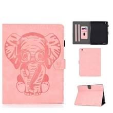 Voor iPad 2 3 4 Olifantenpatroon Horizontaal Flip PU Lederen hoes met slaapfunctie & magnetic buckle & bracket en kaartsleuf(Roze)