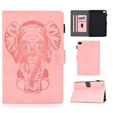 Voor iPad mini 1/2/3/4/5 Olifantenpatroon Horizontaal Flip PU Lederen Hoes met slaapfunctie & magnetische gesp & beugel en kaartsleuf(roze)