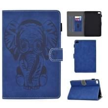 Voor iPad mini 1/2/3/4/5 Olifantenpatroon Horizontaal Flip PU Lederen hoes met slaapfunctie & magnetische gesp & beugel en kaartsleuf(Blauw)