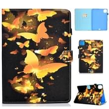 Voor iPad Pro 11 2020 Naaidraad TPU links en rechts platte leren behuizing met slaapfunctie & kaartsleuf & gesp antisnip strip en pencover (Golden Butterfly)