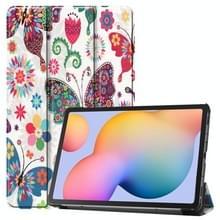 Voor Samsung Galaxy Tab S6 Lite P610 10 4 inch gekleurde tekening horizontale flip lederen behuizing  met drie-vouwen houder (Kleurrijke Vlinder)