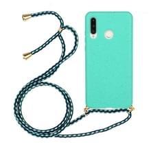 Voor Huawei P30 Lite Tarwe stro materiaal + TPU beschermhoes met Lanyard (Groen)