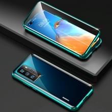 Voor Huawei P40 Pro Shockproof Dubbelzijdige Tempered Glass Magnetic Attraction Case met Camera Lens Protector Cover (Groen)