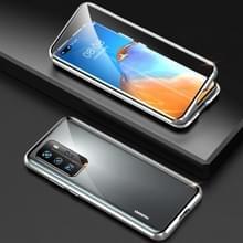 Voor Huawei P40 Pro Shockproof Dubbelzijdige Tempered Glass Magnetic Attraction Case met Camera Lens Protector Cover(Zilver)