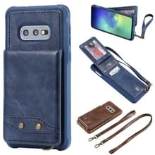 Voor Galaxy S10e Vertical Flip Shockproof Leather Protective Case met Long Rope  Support Card Slots & Bracket & Photo Holder & Wallet Function(Blue)