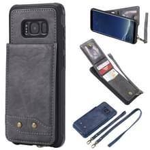 Voor Galaxy S8 Vertical Flip Shockproof Leather Protective Case met Long Rope  Support Card Slots & Bracket & Photo Holder & Wallet Function(Gray)