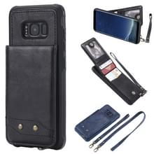 Voor Galaxy S8 Vertical Flip Shockproof Leather Protective Case met Long Rope  Support Card Slots & Bracket & Photo Holder & Wallet Function(Black)