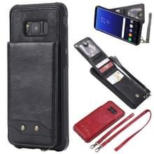 Voor Galaxy S8+ Vertical Flip Shockproof Leather Protective Case met Long Rope  Support Card Slots & Bracket & Photo Holder & Wallet Function(Black)