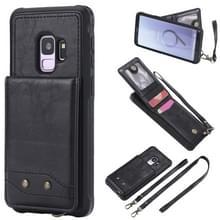 Voor Galaxy S9 Vertical Flip Shockproof Leather Protective Case met Long Rope  Support Card Slots & Bracket & Photo Holder & Wallet Function(Black)