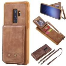 Voor Galaxy S9+ Vertical Flip Shockproof Leather Protective Case met Long Rope  Support Card Slots & Bracket & Photo Holder & Wallet Function(Brown)