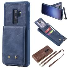 Voor Galaxy S9+ Vertical Flip Shockproof Leather Protective Case met Long Rope  Support Card Slots & Bracket & Photo Holder & Wallet Function(Blue)