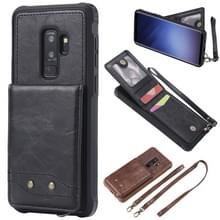 Voor Galaxy S9+ Vertical Flip Shockproof Leather Protective Case met Long Rope  Support Card Slots & Bracket & Photo Holder & Wallet Function(Black)