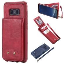 Voor Galaxy S8 Vertical Flip Shockproof Leather Protective Case met Short Rope  Support Card Slots & Bracket & Photo Holder & Wallet Function(Red)