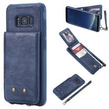 Voor Galaxy S8 Vertical Flip Shockproof Leather Protective Case met Short Rope  Support Card Slots & Bracket & Photo Holder & Wallet Function(Blue)