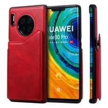 Voor Huawei Mate 30 Pro Shockproof Calf Texture Protective Case met Holder & Card Slots & Frame (Red)