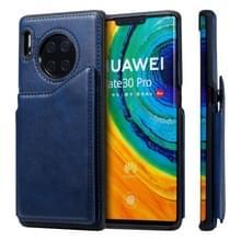 Voor Huawei Mate 30 Pro Shockproof Calf Texture Protective Case met Holder & Card Slots & Frame(Blue)