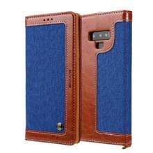 Voor Galaxy Note9 CMai2 Legend of Xingyue Series Denim Texture Horizontal Flip Leather Case met Holder & Card Slots & Photo Frame & Hand Strap(Blauw en Bruin)
