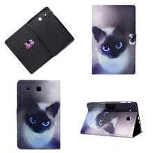 Horizontaal geschilderd e-lederen hoes met penhoes & kaartsleuf & houder(Blue Eyed Cat)