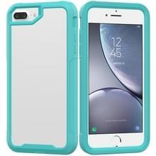 Voor iPhone 8 Plus & 7 Plus Transparent Series Frame TPU + PC Stofwerende Krasbestendige Valwerende Beschermhoes (Lichtblauw)