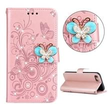 Voor iPhone SE 2020 Diamond Encrusted Butterflies Embossing Pattern Horizontal Flip Leather Case with Holder & Card Slots & Wallet & Lanyard(Rose Gold)