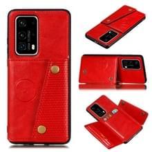 Voor Huawei P40 PU + TPU Shockproof Magnetische beschermhoes met kaartsleuven (rood)