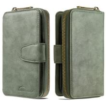 Voor Galaxy S9 Plus afneembare multifunctionele horizontale horizontale flip lederen behuizing met kaartsleuven & Zipper Wallet & Photo Frame(Groen)