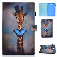 Voor Galaxy Tab A10.1 T580 Horizontal TPU Painted Flat Feather Case Anti-skid strip met Sleep Function & Pen Cover & Card Slot & Holder(Herten)