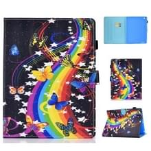 Voor iPad 2 / 3 / 4 Horizontale TPU Painted Flat Feather Case Anti-skid strip met Sleep Function & Pen Cover & Card Slot & Holder(Music Butterfly)