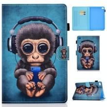 Voor iPad Mini 1 / 2 / 3 / 4 / 5 Horizontale TPU Painted Flat Feather Case Anti-slip strip met Sleep Function & Pen Cover & Card Slot & Holder(Headphone Monkey)