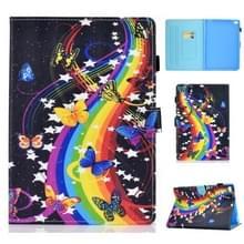 Voor iPad Air 2 Horizontal TPU Painted Flat Feather Case Anti-skid strip met Sleep Function & Pen Cover & Card Slot & Holder(Music Butterfly)