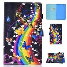 Voor Galaxy Tab A10.1 T510 Horizontal TPU Painted Flat Feather Case Anti-skid strip met Pen Cover & Card Slot & Holder(Music Butterfly)