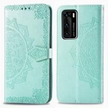 Voor Huawei P40 Embossed Mandala Pattern PC + TPU Horizontal Flip Leather Case met Holder & Card Slots(Groen)