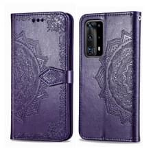 Voor Huawei P40 Pro / P40 Pro+ Embossed Mandala Pattern PC + TPU Horizontal Flip Leather Case met Holder & Card Slots(Purple)