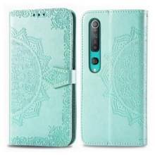 Voor Xiaomi Mi 10 Pro 5G Embossed Mandala Pattern PC + TPU Horizontal Flip Leather Case met Holder & Card Slots (Groen)