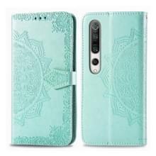 Voor Xiaomi Mi 10 5G Embossed Mandala Pattern PC + TPU Horizontal Flip Leather Case met Holder & Card Slots (Groen)