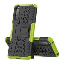 Voor Sony Xperia 10 II. Tire Texture Shockproof TPU+PC Protective Case with Holder(Green)
