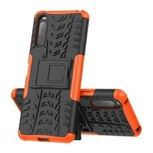 Voor Sony Xperia 10 II. Schokkerf textuur schokbestendige TPU+PC-beschermhoes met houder(oranje)
