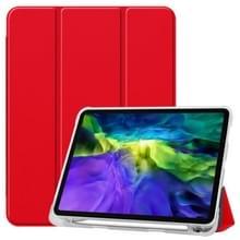 Voor iPad Pro 11 inch (2020) Drieklapper Horizontaal Flip PU Leder + Clear TPU Back Cover Case met Sleep / Wake-up Function & Holder & Pen Slot(Red)