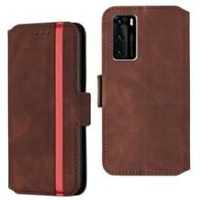 Voor Huawei P40 Vintage Matte Oil-edge Horizontal Flip Leather Case met Bracket & Card Slots(Wine Red)