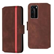 Voor Huawei P40 Pro Vintage Matte Oil-edge Horizontal Flip Leather Case met Bracket & Card Slots(Wine Red)