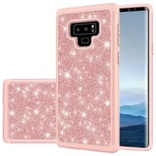 Voor Galaxy Note9 Glitter Powder Contrast Skin Shockproof Siliconen + PC Protective Case (Rose Gold)