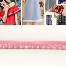 YB000110 Unilateral Fluff Ball Shape Lace Belt DIY Kleding Accessoires  Lengte: 18.28m  Breedte: 1cm (Matig Roze)