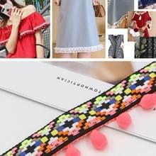 mzf3.5mq National Style Fur Ball Lace Belt DIY Kleding Accessoires  Lengte: 22.86m  Breedte: 3.5cm (Colorful Band Fluorescerend Roze)